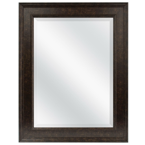 Beveled Rectangular Bathroom Vanity Mirror with Bronze