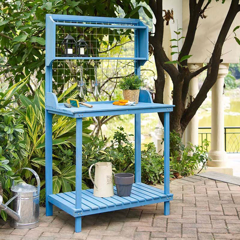 Exceptional Blue Wood Potting Bench With Garden Tool Hanging Trellis And Slatted Shelf