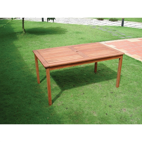 gorgeous wood patio table with umbrella