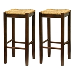 Set of 2- Solid Wood Bar Stool in Walnut with Wiveb Rush Seat