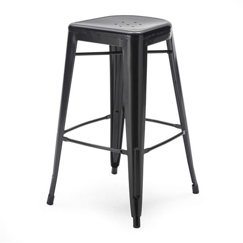 set of 2 bar stools modern 30 inch black metal barstools. Black Bedroom Furniture Sets. Home Design Ideas