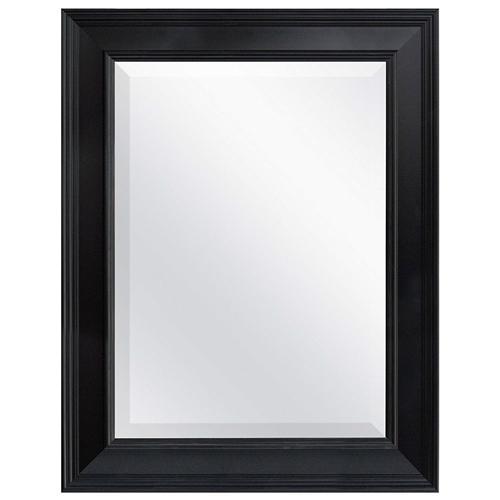 Black 27 5 X 21 5 Inch Beveled Bathroom Mirror With Wall Hangers