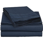 King size 4-Piece Wrinkle-Free Microfiber Sheet Set in Navy Blue
