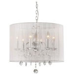 Chrome and Cream 6-light Crystal Chandelier