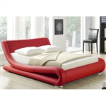 California King Red Faux Leather Upholstered Platform Bed with Modern Curved Headboard