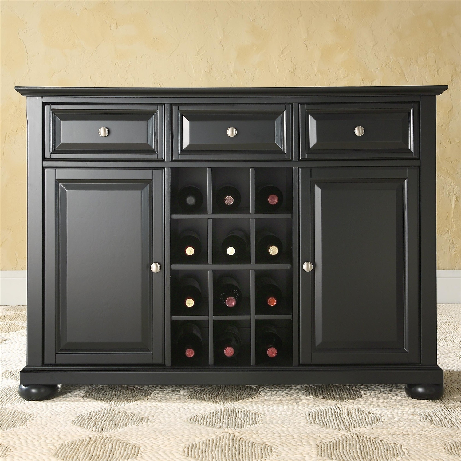 Black Dining Room Buffet Sideboard Cabinet with Wine Storage ...
