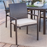 Dark Brown Weather Resistant Resin Wicker Dining Chair Armchair