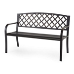 4-Ft Curved Back Metal Garden Bench in Weathered Black with Antique Bronze Highlights