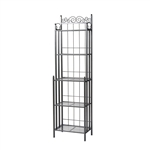 Narrow Wrought Iron Bakers Rack with 5 Shelves