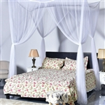 White 4-Post Bed Princess Canopy Net Mosquito Netting for Full or Queen size Beds