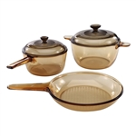 Classic Amber 5-Piece Glass Stovetop Safe Cookware Set