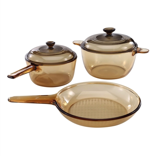 Classic amber 5 piece glass stovetop safe cookware set