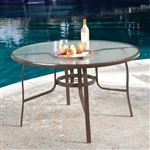 48-inch Round Glass-Top Outdoor Patio Dining Table with Umbrella Hole
