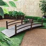 Dark Brown Stain 8-Ft Fir Wood Garden Bridge with Hand Rails
