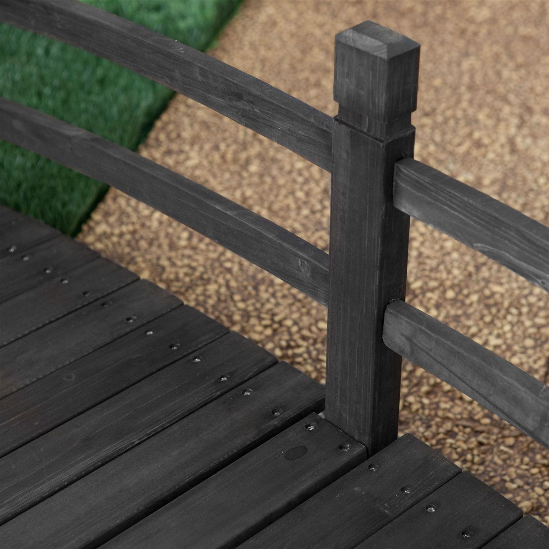 6 ft outdoor wooden garden bridge with handrails in dark Outdoor wood furniture stain