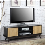 Modern Mid Century Style TV Stand in Espresso Light Oak Wood Finish