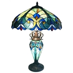3-Light Victorian Tiffany Style Multi-Colored Glass Table Lamp