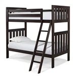 Twin over Twin Bunk Bed with Ladder in Espresso Wood Finish