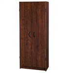 Wardrobe Cabinet with Shelves in Dark Cherry Wood Finish Bedroom Kitchen or Bathroom