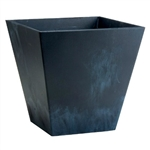 Contemporary 12-inch Square Planter in Black Plastic