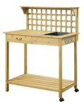 Natural Wood Finish Potting Bench with Trellis Shelving and Sink