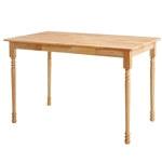 Natural Wood Finish Rectangular Dining Table with Butcher Block Top