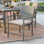 Outdoor Weather Resistant Resin Wicker Patio Dining Chair Arm Chair in Natural