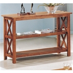 Brown Wood Sofa Table Living Room Storage Display Shelves