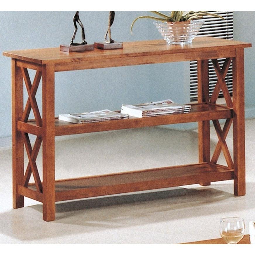 Alternate Views & Brown Wood Sofa Table Living Room Storage Display Shelves ...