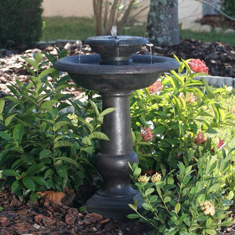 2 Tier Outdoor Solar Bird Bath Fountain In Oiled Bronze