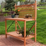 Outdoor Weather-Resistant Fir Wood Potting Bench Garden Table with Lattice Back