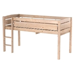 Twin size Kids Teens Bunk Loft Bed in Natural Wood Finish