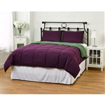 Full/Queen size 3-Piece Green Purple Microfiber Comforter Set with 2 Shams