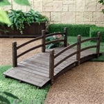 Dark Brown Stain 6-Ft Fir Wood Garden Bridge
