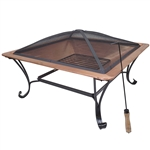 Square 33-inch Solid Copper Fire Pit Bowl with Iron Stand and Screen