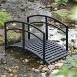 Contemporary Outdoor 4-Ft Metal Garden Bridge in Black Steel with Side Rails