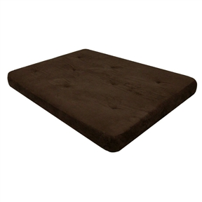 Full-size 6-inch Thick Futon Mattress with Chocolate Microfiber Futon Cover