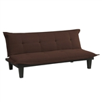 Modern Convertible Sofa Bed Futon Lounger in Brown Microfiber