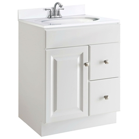 24 inch modern bathroom vanity cabinet base in white semi gloss for Modern bathroom vanity 24 inch