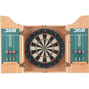 Sisal Dartboard With Oak Finish Cabinet Darts And