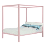 Full size Pink Metal Canopy Bed