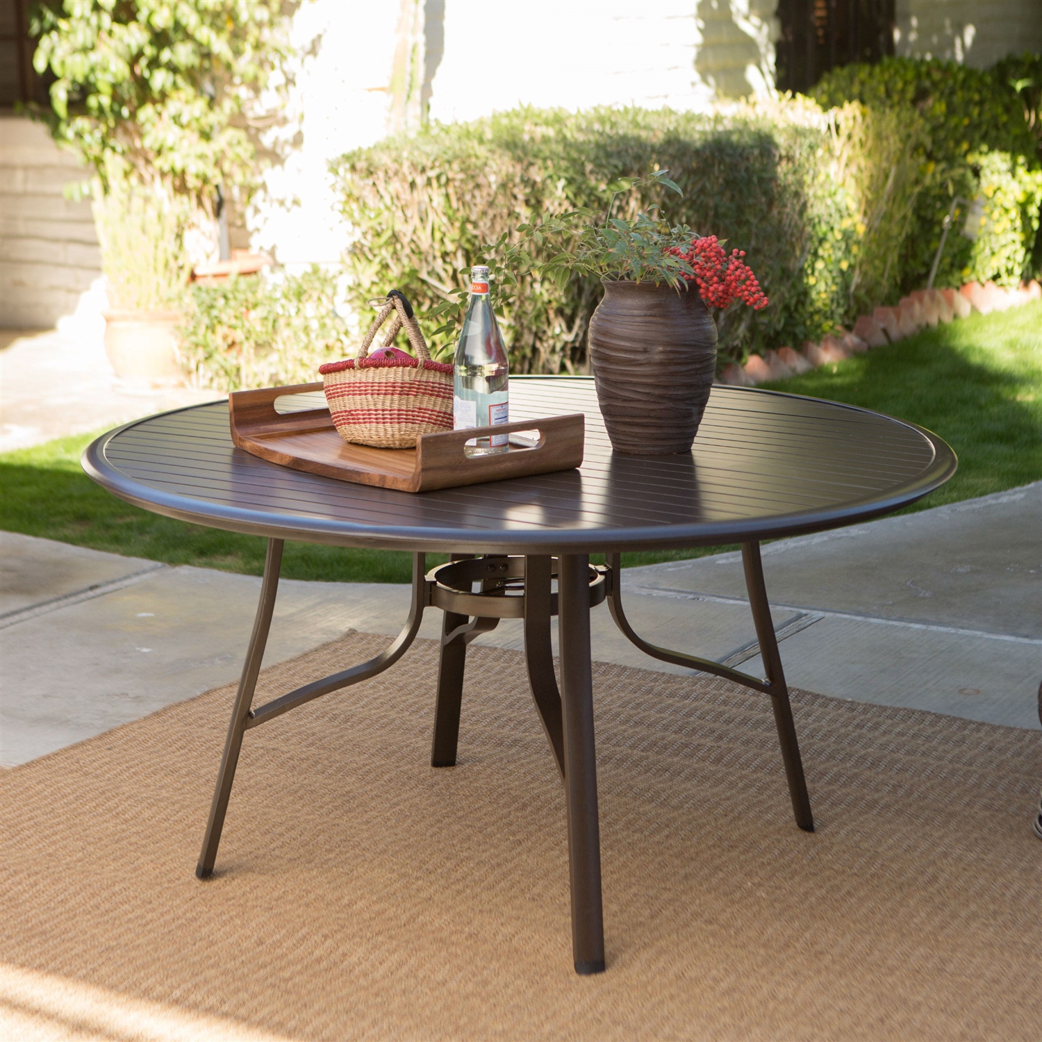 Modern Patio Dining Furniture round 51-inch modern patio dining table with center umbrella hole