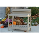 Outdoor Vinyl Potting Bench Garden Work Table in Mocha - Made in USA