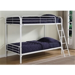 Twin over Twin size Sturdy Metal Bunk Bed in White