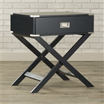 Dark Grey 1-Drawer End Table Nightstand with Modern Classic X Style Legs