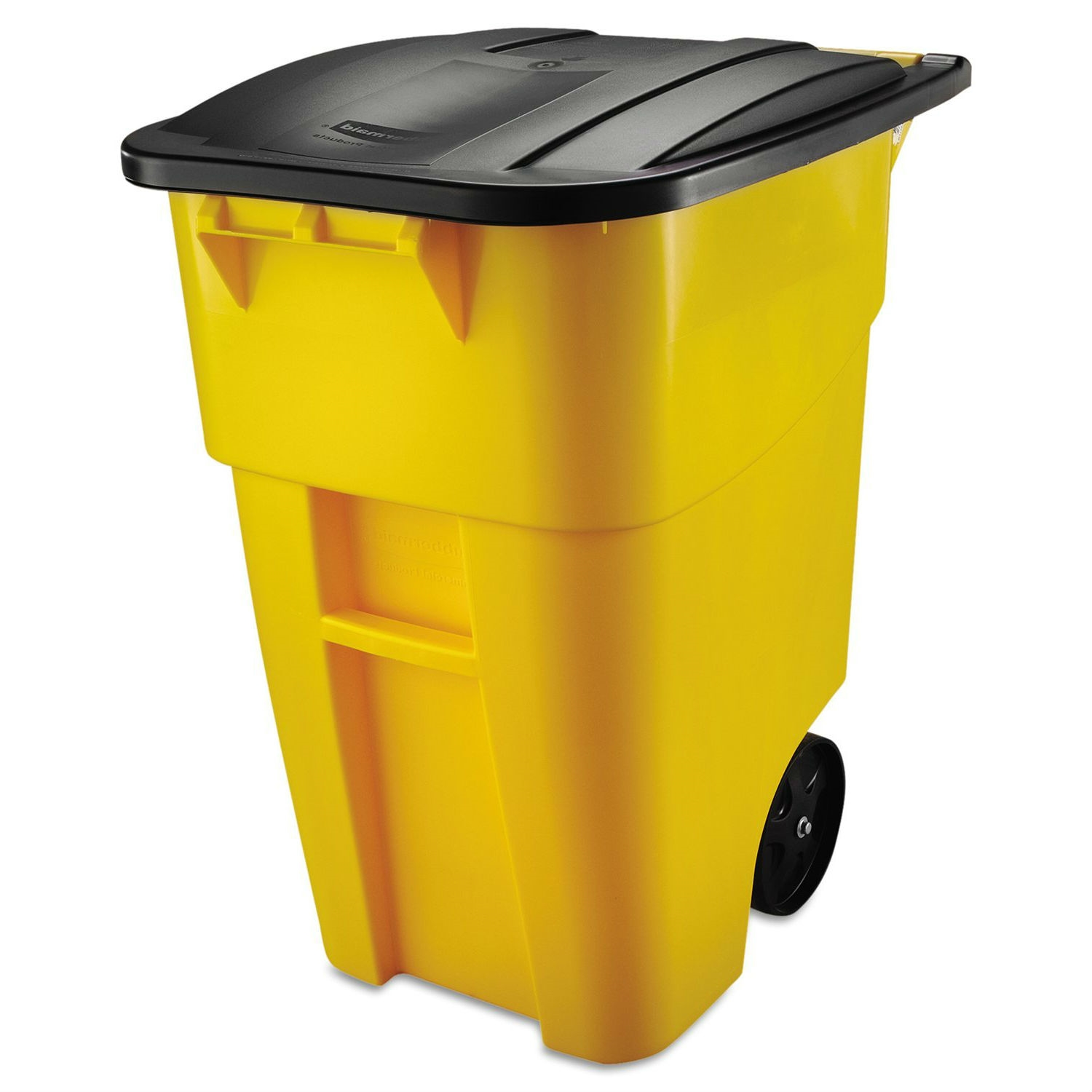 50 gallon yellow commercial heavy duty rollout trash can waste utility