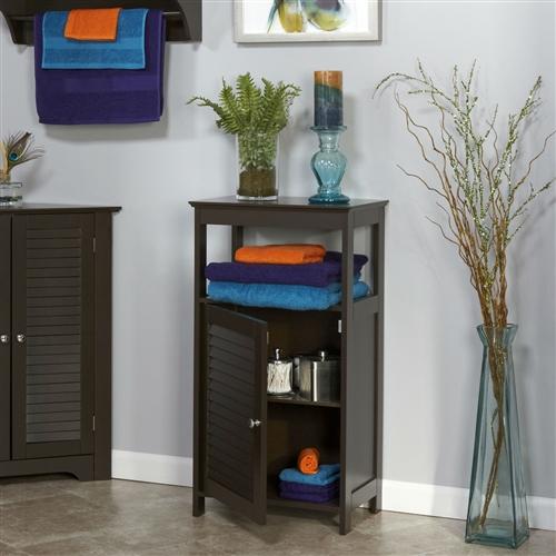 Modern Bathroom Floor Cabinet Free Standing Storage Unit In Espresso