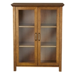 Oak Finish Bathroom Floor Cabinet with 2 Glass Doors & Storage Shelves