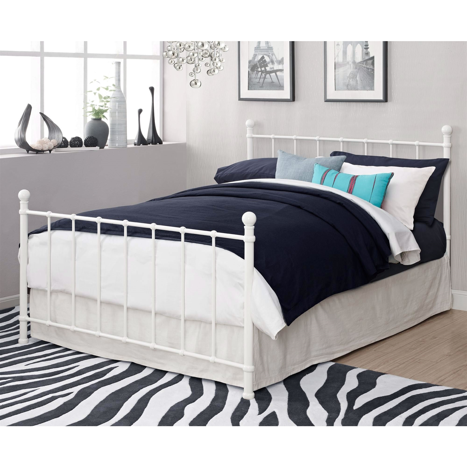 Full size White Metal Platform Bed Frame with Headboard and ...