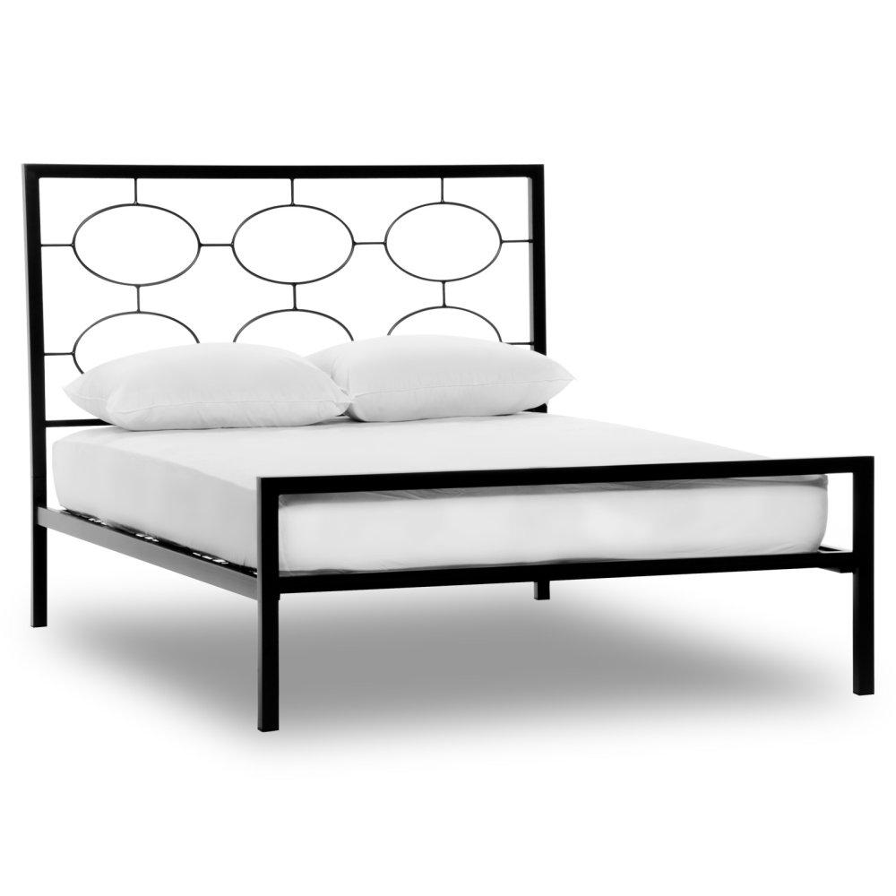 Metal platform bed frame - King Size Contemporary Metal Platform Bed In Graphite Finish